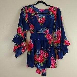 Betsy Johnson Floral Boho Kimono Blouse Sz M